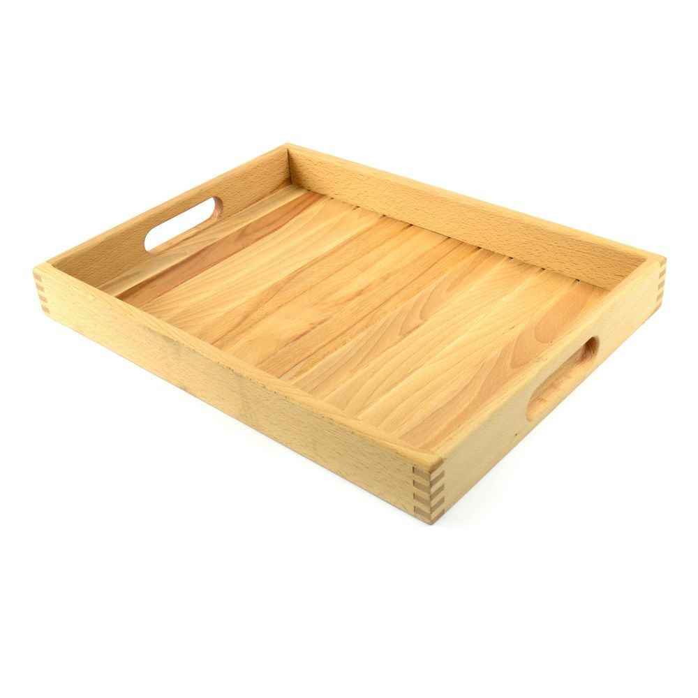 Large Wooden Serving Tray TV dinner tray with handles Lap Bed breakfast