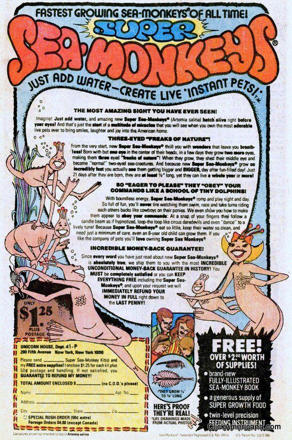 Sea Monkeys Ad 1978 Book advertising, Sea monkeys, My