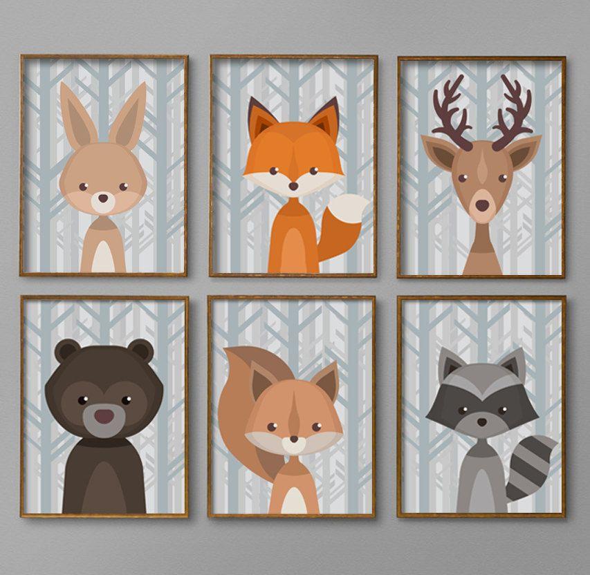 Woodland Nursery Decor Baby Boy Wall Art Unique Creatures Printable 8x10 Pdf Prints Bear Deer Fox Rabbit