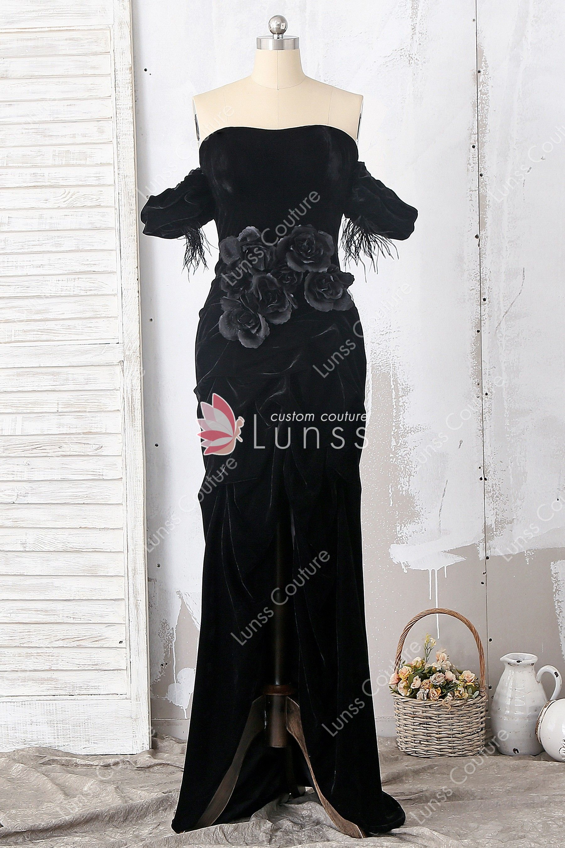 4d66b836a36 This custom made elegant high-low formal velvet gown features off-the-shoulder  neckline with feather sleeve