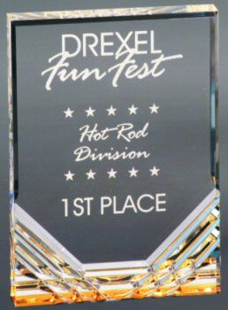 Gold Jewel Mirage Acrylics Award - Self-standing 1 inch thick acrylic award. Dramatic gold jewel reflective base which illuminates your laser engraved message. Free detailed reverse laser engraving adds dimension to this award making it very special. https://www.wrightplaque.com/product/119/Acrylic-Awards