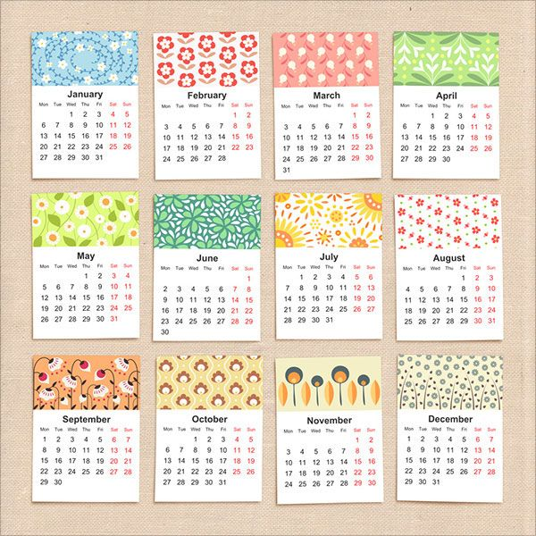 Calendar Design With Photos Free : Floral calendar design graf pinterest