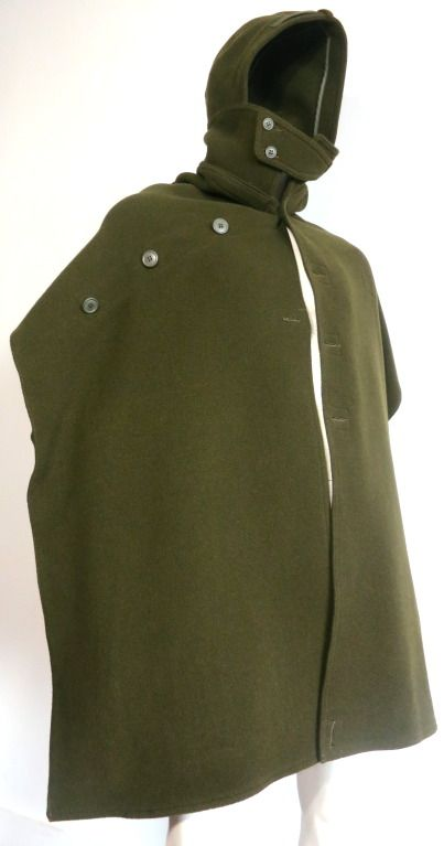 JUNYA WATANABE / COMME DES GARCONS Men's olive wool poncho wrap cape | From a collection of rare vintage coats and outerwear at https://www.1stdibs.com/fashion/clothing/coats-outerwear/