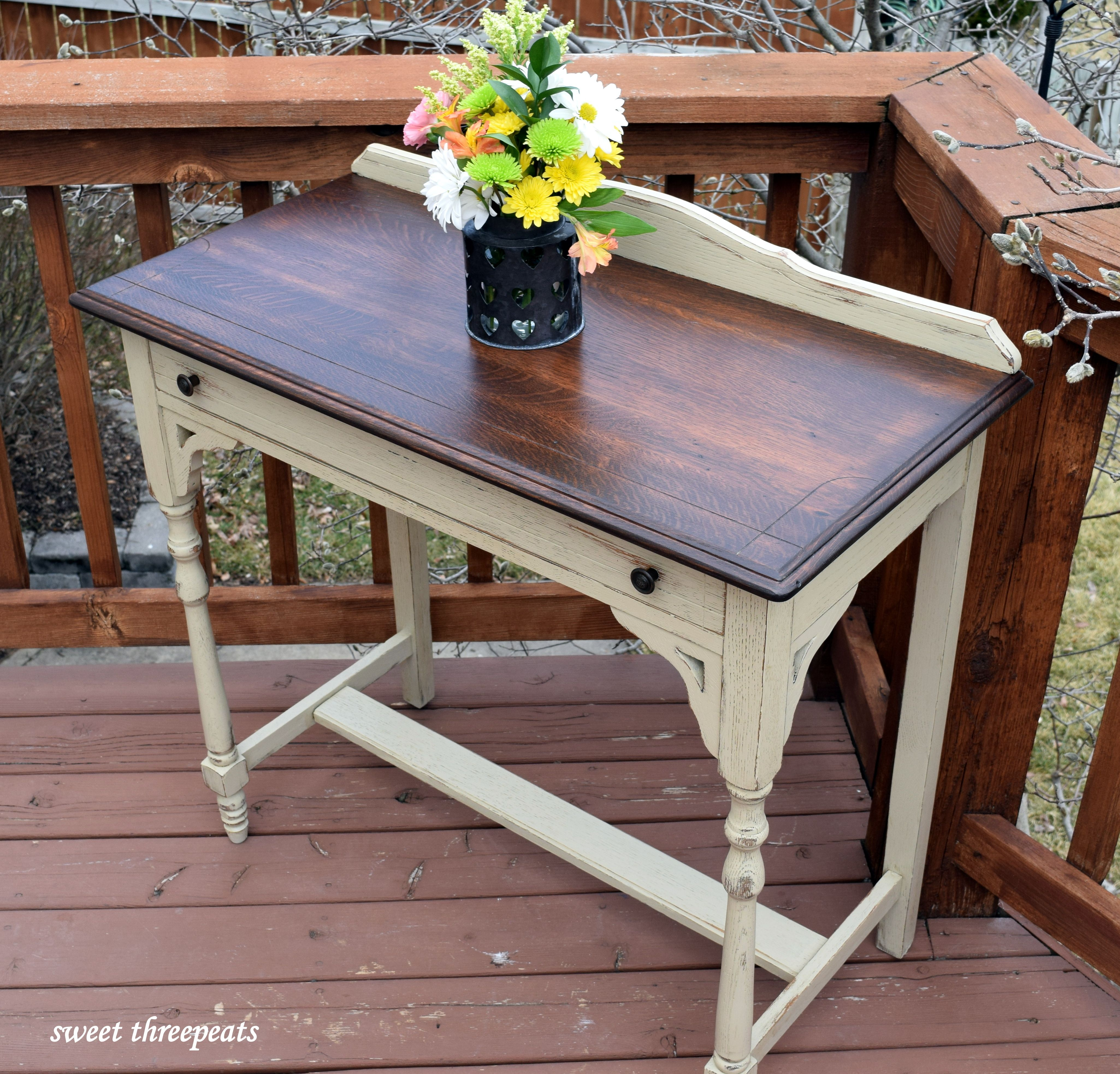 Antique Oak Side Table Refinished With General Finishes Millstone Milk Paint And Java Gel Stain Www Facebo Furniture Oak Bedroom Furniture Wood Side Table Diy