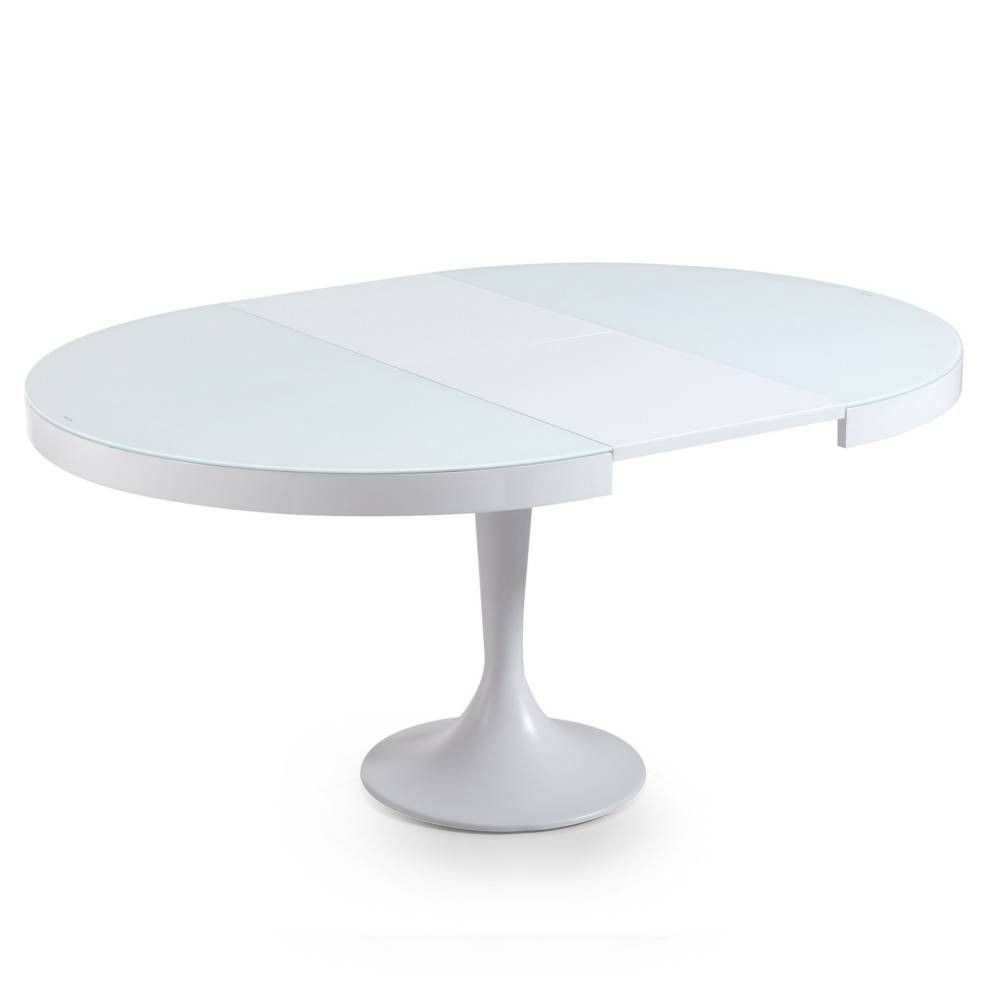 Table Ronde Blanche Extensible Pied Central