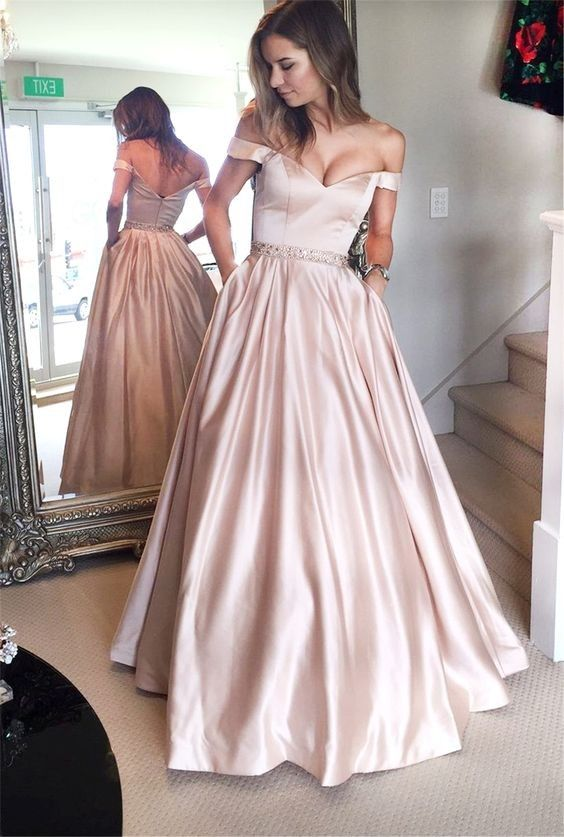 A line Sexy Off Shoulder Sleeves Rose Pink Prom Dress | Prom ...