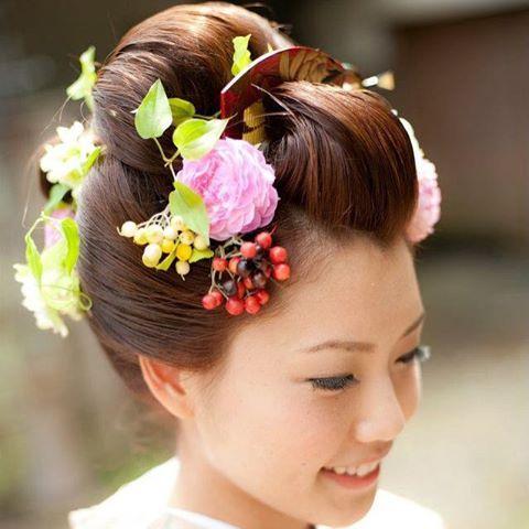 新日本髪 地毛結い結納 hairmake 花かんざし着付ヘアアレンジアップスタイル和髪
