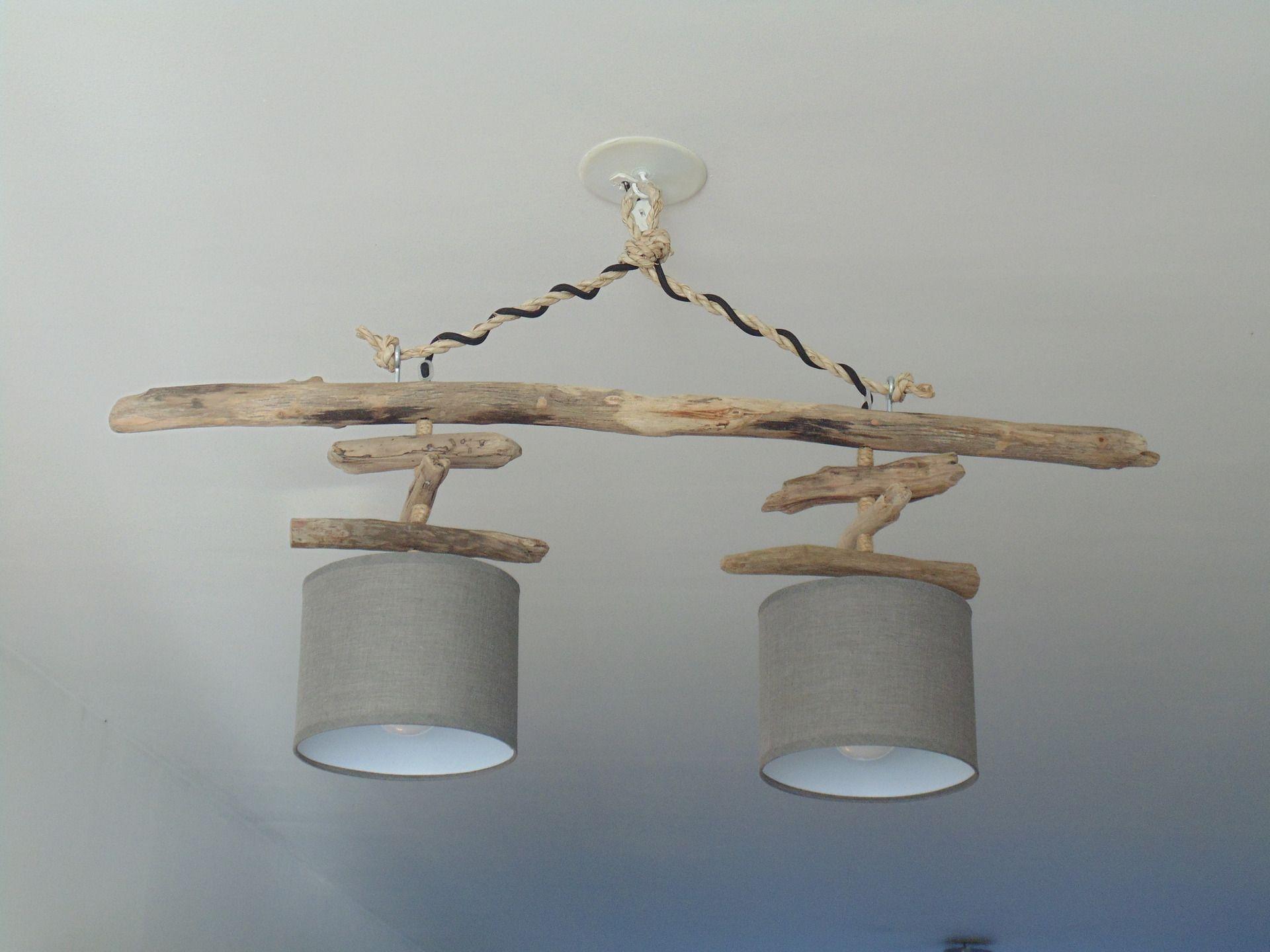 Lustre plafonnier en bois flotté gris taupe 18 cm création