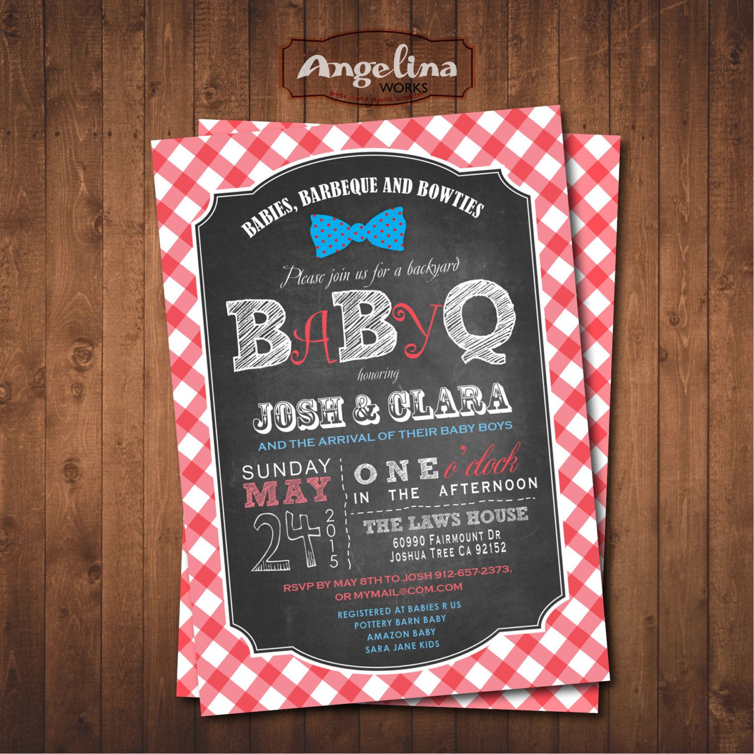 Baby Q Shower invitation. Barbecue Chalkboard Invitation. Digital Printable card by AngelinaWorks on Etsy