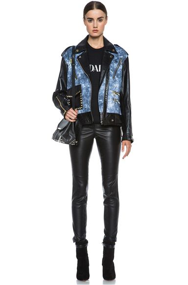 Rodarte|Studded Acid Wash Leather Jacket in Black