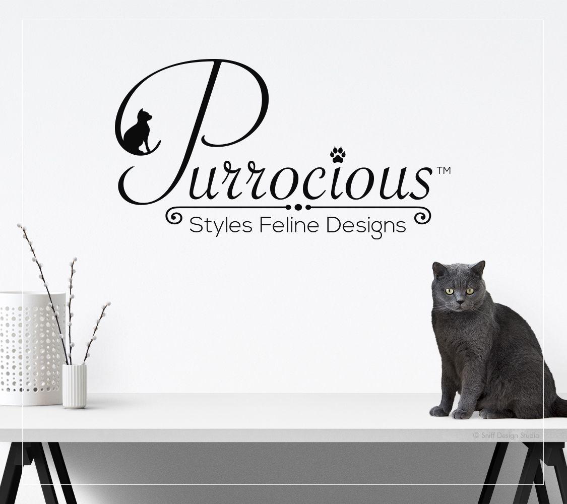 Logo design for Purrocious Styles Feline Design I #felinelogo I #catlogo I #petbusinesslogodesign #stylishlogo I #catgroominglogo