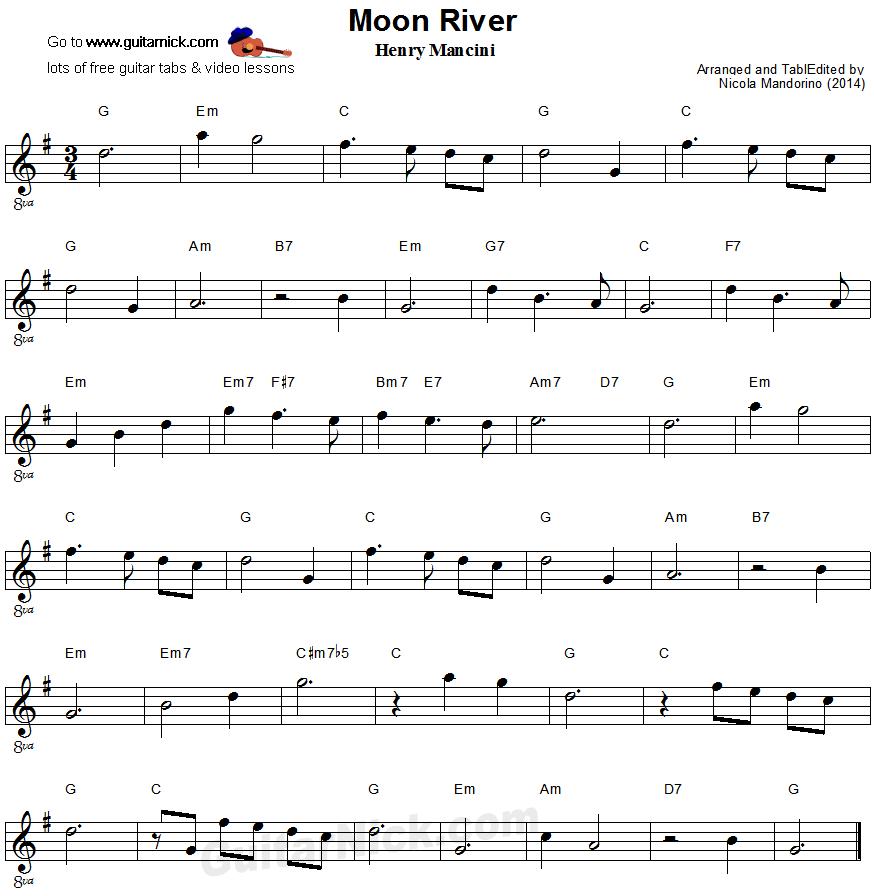All That Jazz Sheet Music Piano: Moon River - Easy Guitar Sheet Music