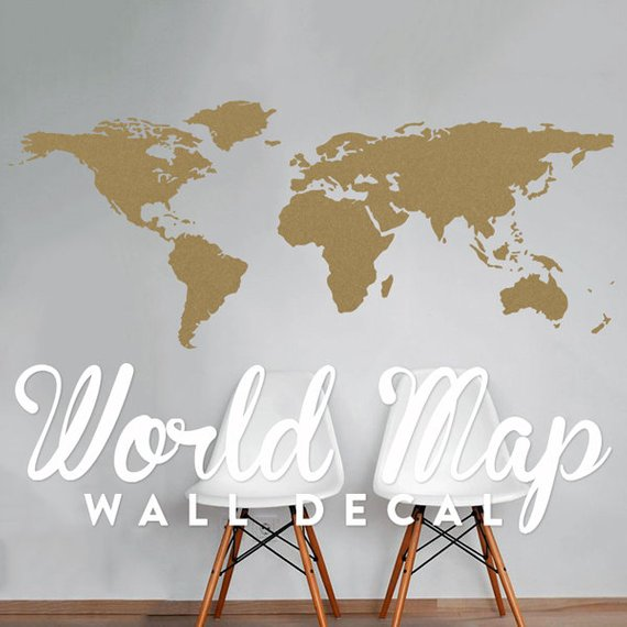 world map wall decal - travel wall decor - map wall sticker - wal