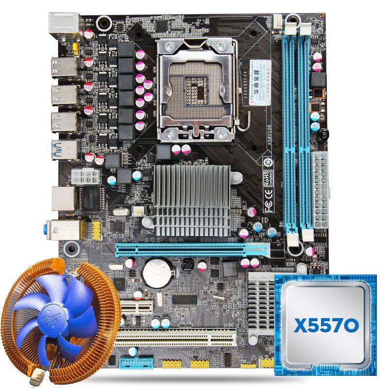 HUANAN X58 motherboard CPU combos with cooler X58 LGA1366