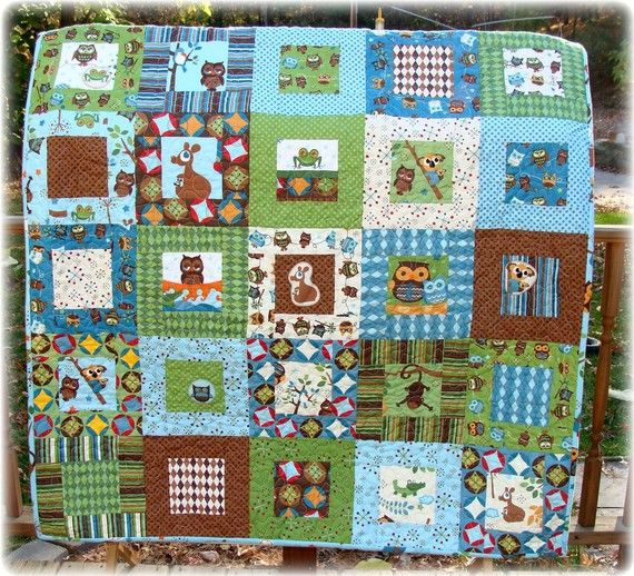 Blue green brown quilt crafts sewing quilting for Boy quilt fabric