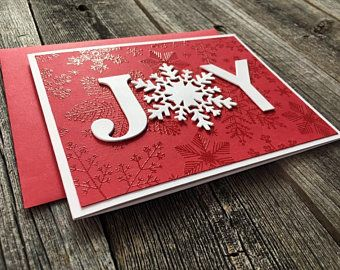 Set of 5 Textured Snowflakes Christmas Note Cards, Handmade Blank Christmas Cards Set, Holiday Glitter Snowflake Cards Set