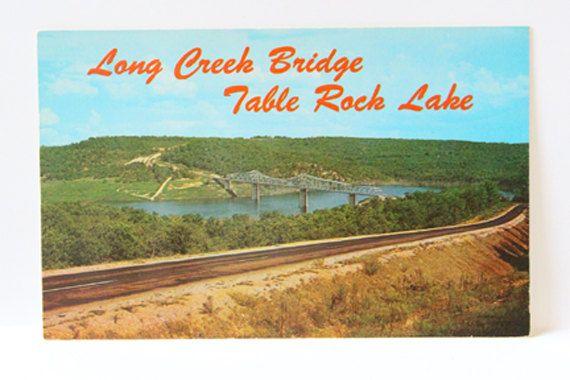 OZARKS POST CARD, Vintage Long Creek Creek Bridge and Table Rock Lake card, Ozarks postcards, vintage color post card, vintage souvenir card