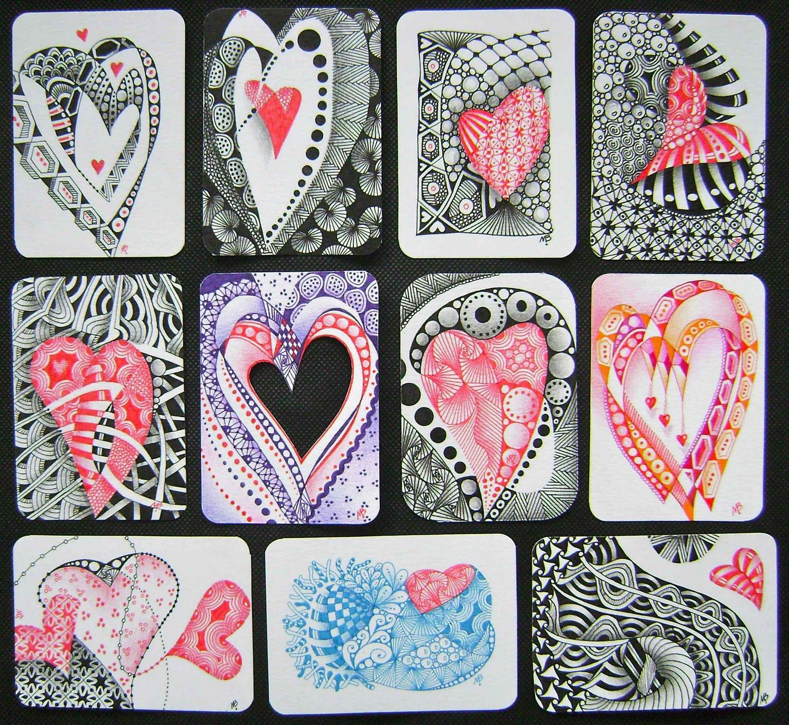 heart zentangle i especially love the heart in the middle column