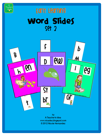 Early Learning Word Slides Set 2 prek - Grade 1 product from A_Teachers_Idea on TeachersNotebook.com
