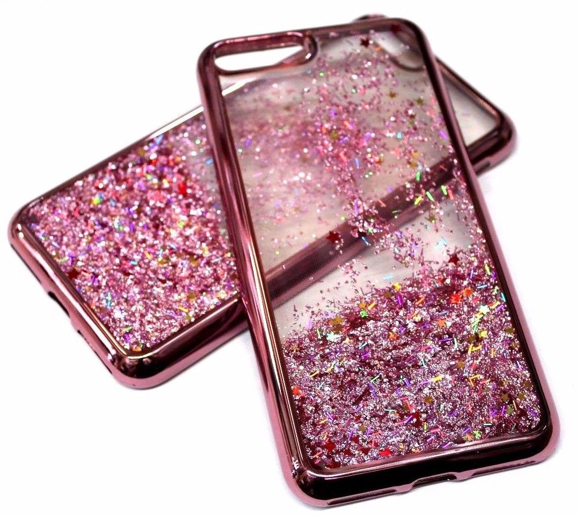 official photos 0ea98 410aa For Iphone 7+ Plus - Rose Gold Trim Pink Glitter Stars Sparkle ...