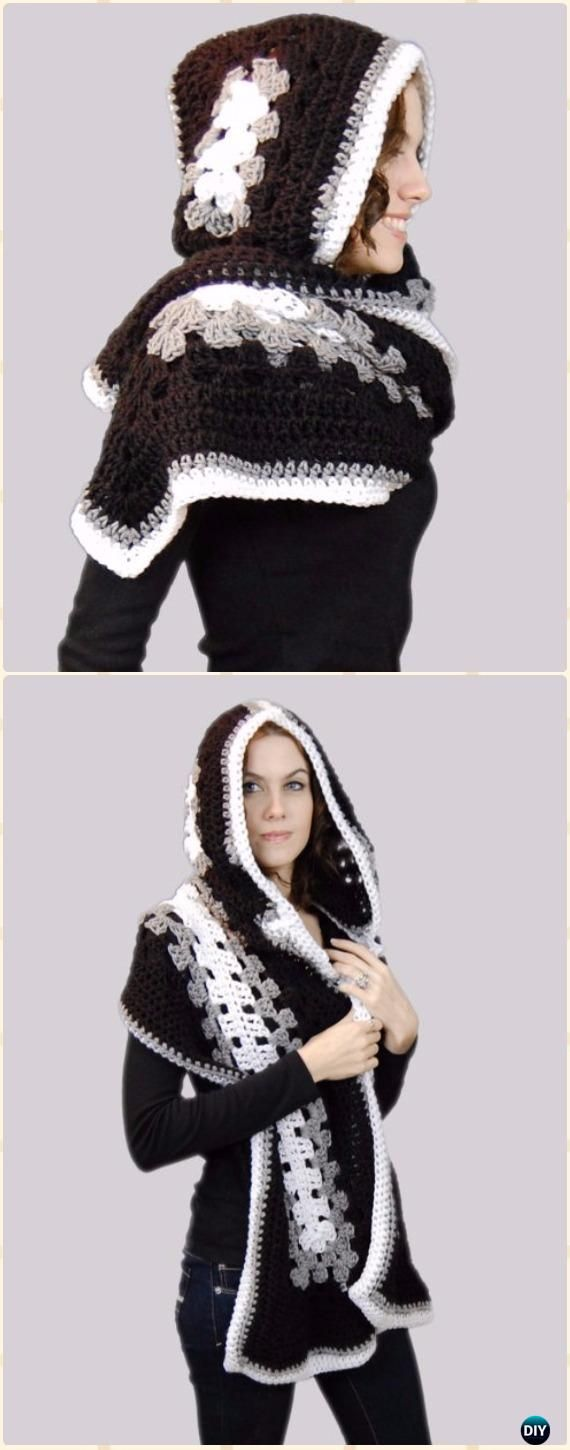 Crochet Ella Hooded Scarf Free Pattern - Patrones de ganchillo con ...