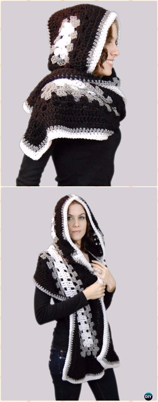 Crochet Hoodie Scarf Scoodie Free Patterns | Tejido, Ganchillo y Gorros