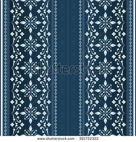 Decorative seamless border on aquamarine background. Element for design. Ornamental backdrop. Pattern fill. Ornate floral decor for wallpaper. Traditional decor on aquamarine background.