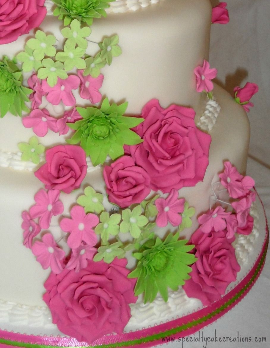 Specialty Cake Creations: Hot Pink and Lime Green Cascading Flowers ...