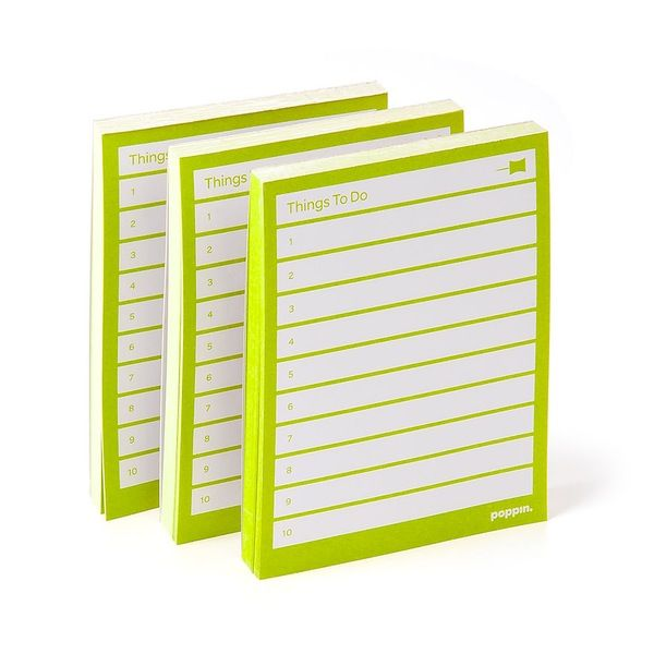 Poppin Lime Green Task Pads, Set Of 3 | Desk Accessories | Cool Office  Supplies