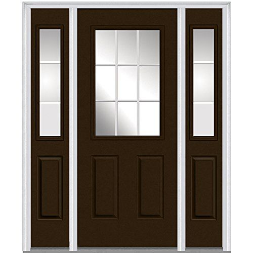 National Door Z005336l Smooth Fiberglass Left Hand Prehung In Swing Entry Door With 12 Sidelites Clear Glass With Gb Steel Doors Exterior Mmi Door Front Door