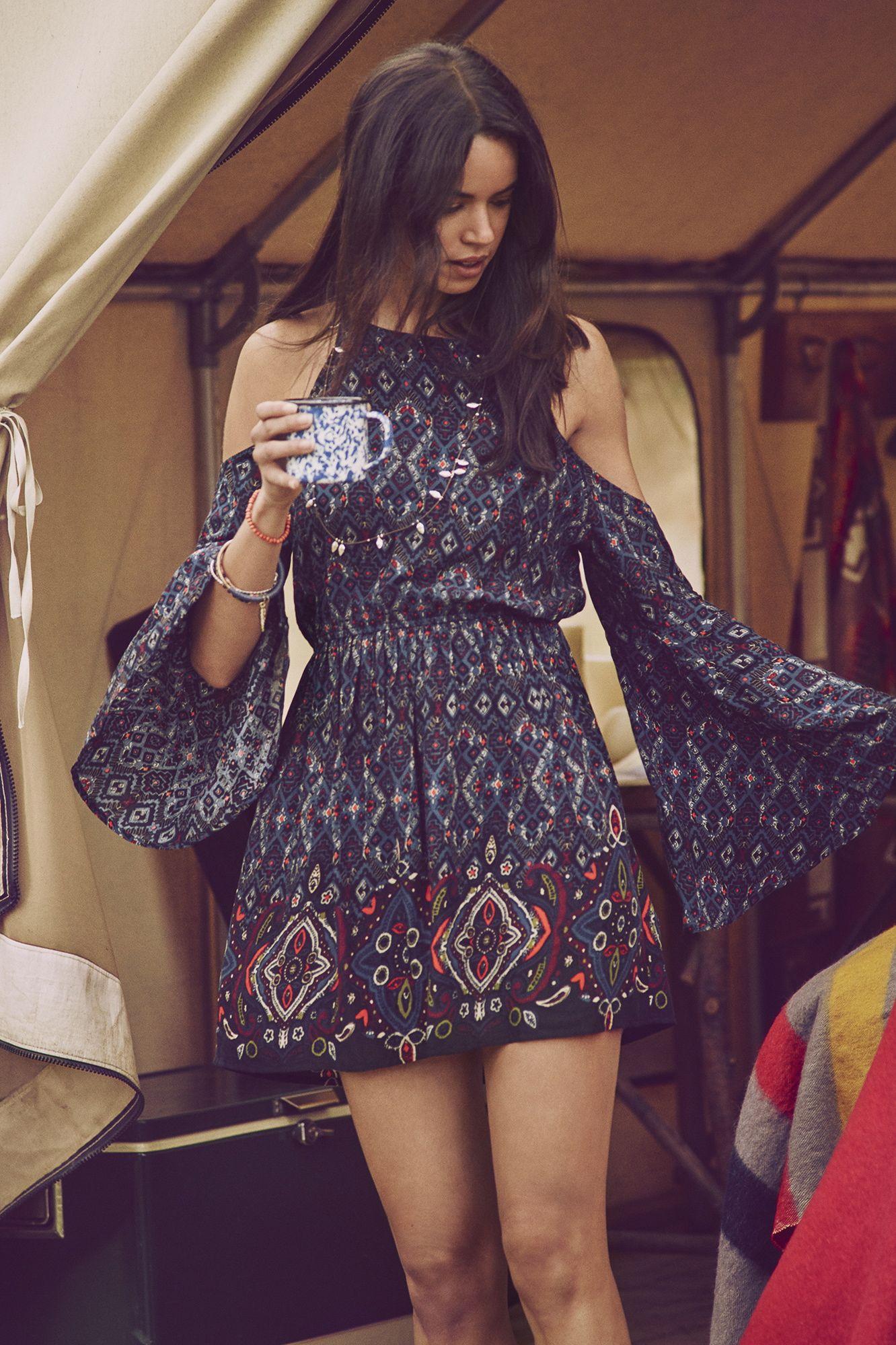 2a9aba3ebf8 A F Summer Getaway    Great Outdoors    Boho beauty. Printed cold shoulder  dress