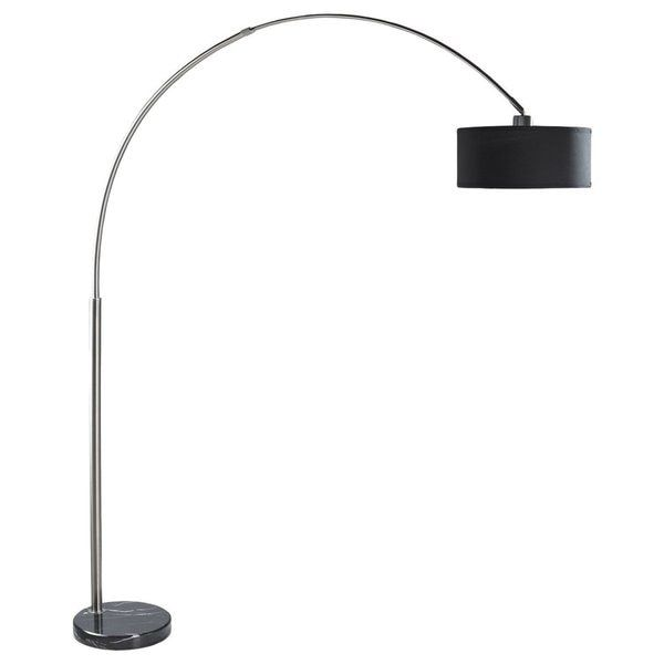 Q max black steel with black marble base 81 inch adjustable q max black steel with black marble base 81 inch adjustable arching floor lamp mozeypictures Image collections