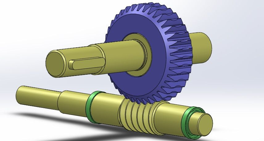 Worm gear and pinion assembly - SOLIDWORKS,STEP / IGES - 3D