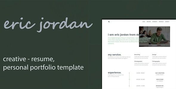 Portfolio For Resume Captivating Eric  Creative Personal Portfolio Cv  Resume Template  Cv Resume .