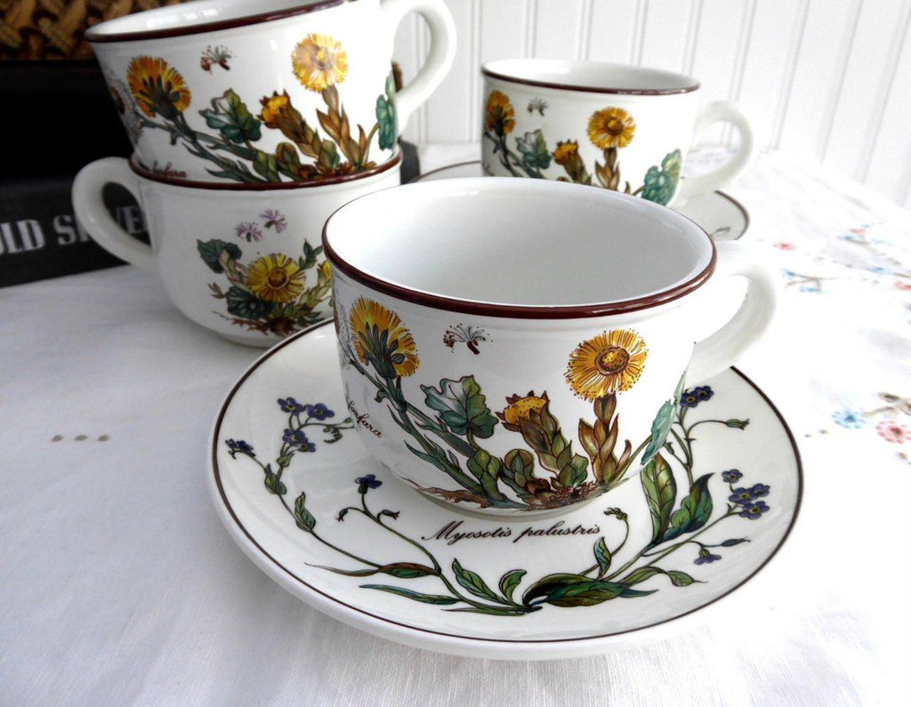 Villeroy And Boch Botanica 4 Cups And Saucers Botanical Names