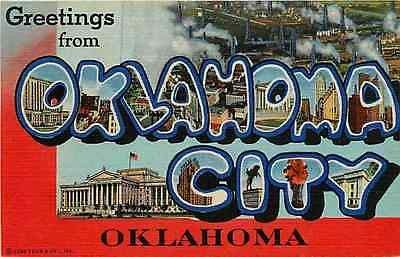Letter Greetings New 1944 Large Letter Greetings From Oklahoma City Oklahoma Vintage .
