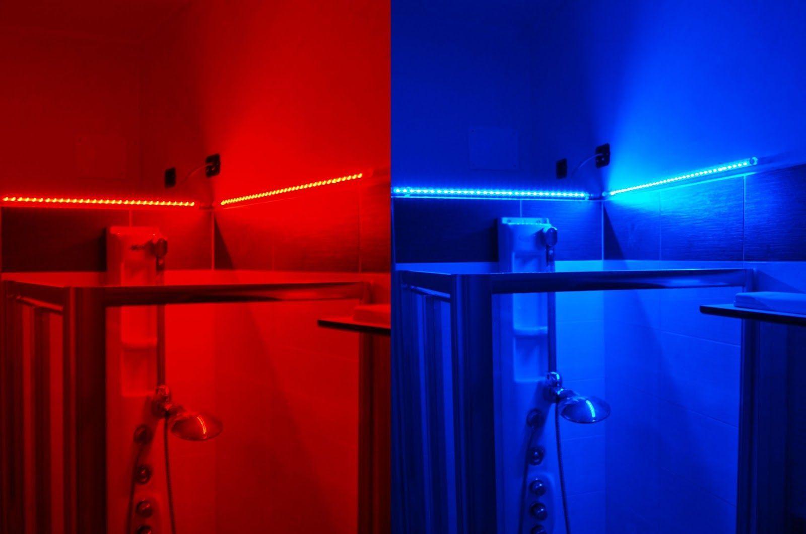 Una doccia illuminata con barre led rgb barre led pinterest - Illuminazione doccia con led ...