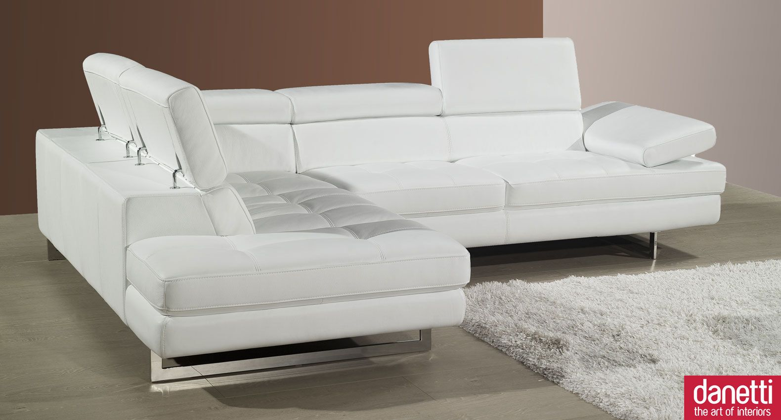 Home Element : Modern Leather Corner Sofa Adjustable Headrests And ...