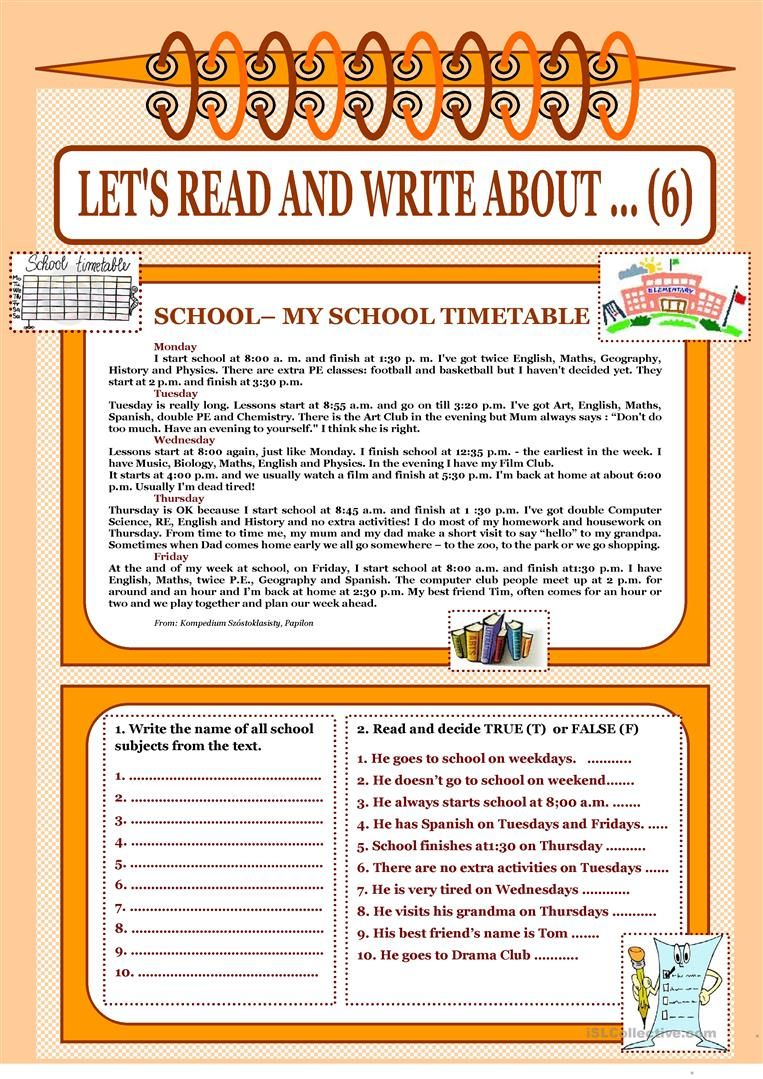 Let S Read And Write About 6 My School Timetable Worksheet Free Esl Printable Workshee School Timetable Reading Writing Reading Comprehension Lessons [ 1079 x 763 Pixel ]