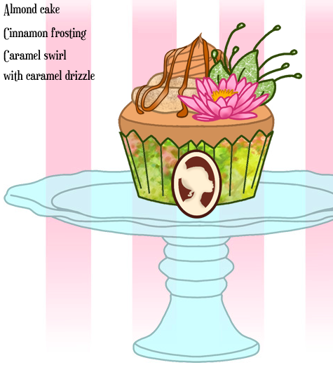Princess Tiana's Almond Cupcake with cinnamon frosting and caramel swirl with caramel drizzle