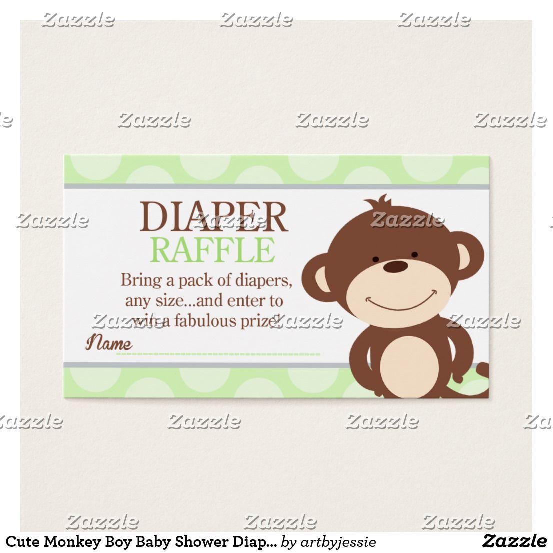 Monkey Boy Baby Shower Diaper Raffle Business Card