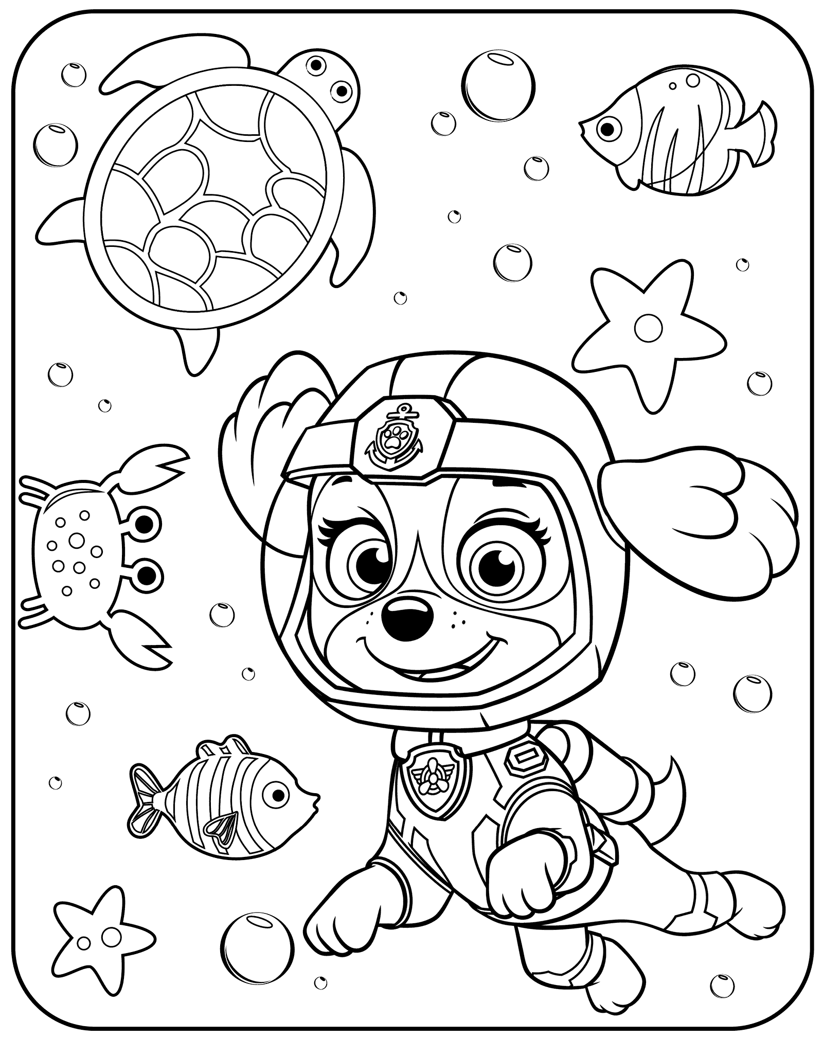 Skye Underwater Paw Patrol Coloring Page Paw Patrol Coloring Pages Paw Patrol Coloring Birthday Coloring Pages