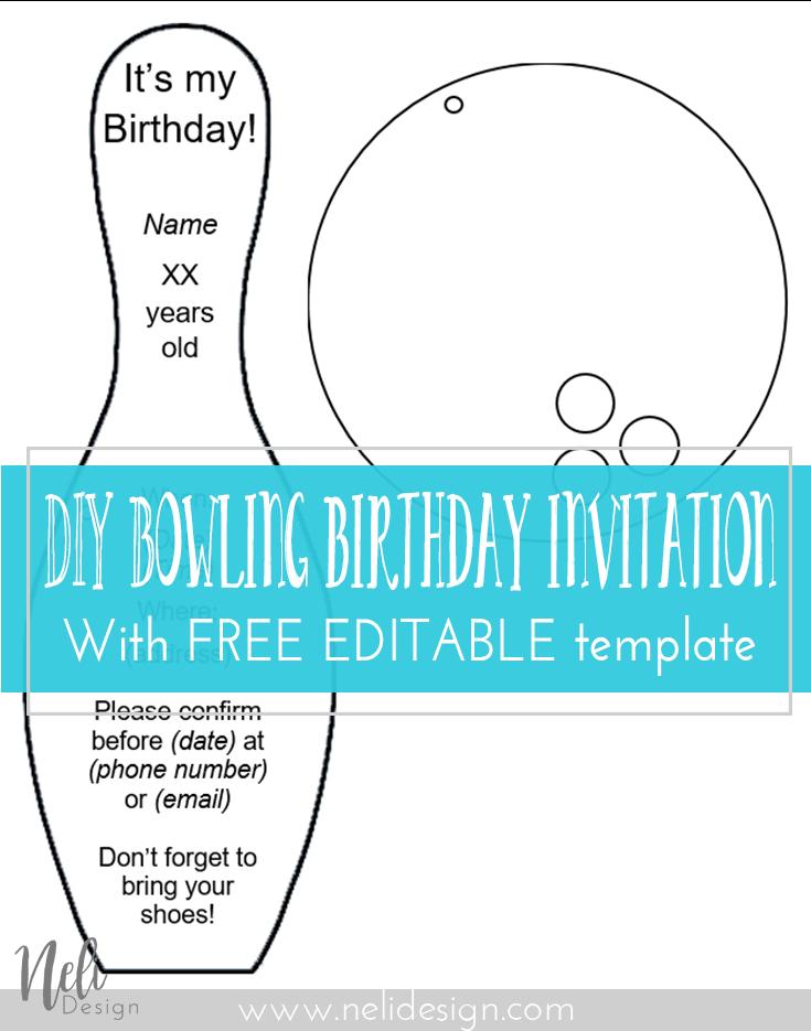 Diy bowling birthday invitations pinterest bowling birthday bowling party invitation printable template free diy easy kids birthday stopboris Choice Image