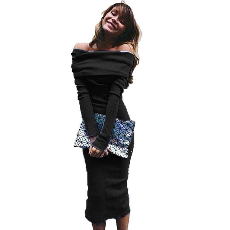 Sexy Off Shoulder Knitted Dress For Women Autumn Long Sleeve Slash Neck Women Dress Slim Bodycon Dress Ladies