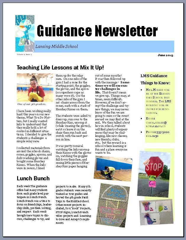 The Middle School Counselor promoting your school counseling - office newsletter