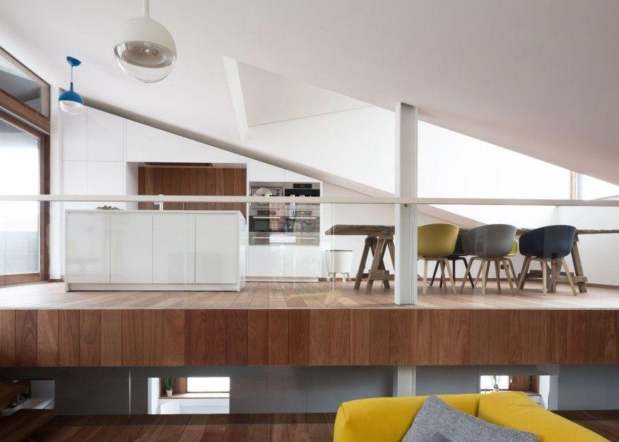 versetzte ebenen holz fussboden dachschraege design, a sloping green roof hides the split level interior of belgium's, Design ideen