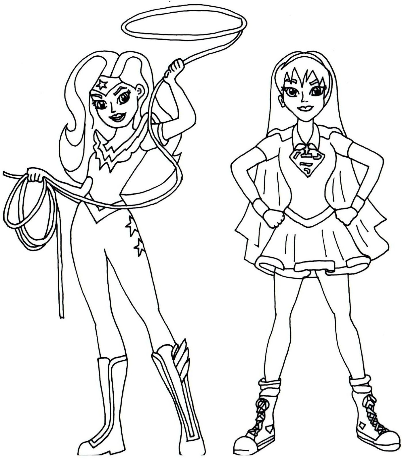 Wonder Woman And Supergirl Super Hero High Coloring Page