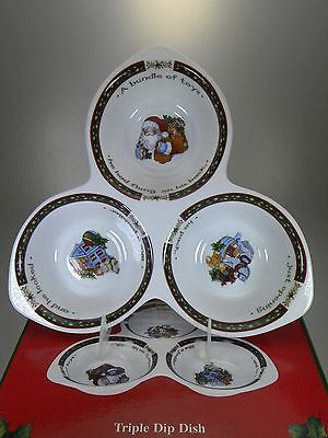 Portmeirion A Christmas Story Triple Dip Dish Set of 2 NEW IN BOX Susan Winget & Portmeirion A Christmas Story Triple Dip Dish Set of 2 NEW IN BOX ...