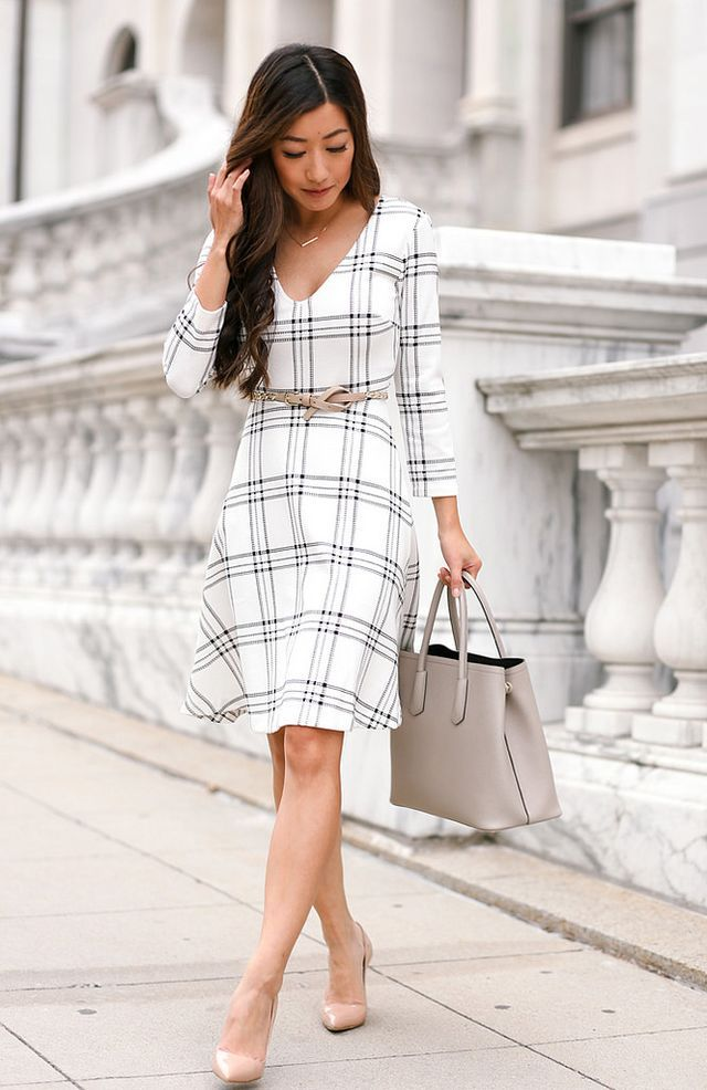 1b049c2749e4 Cascading Classics: draped trench coat + windowpane dress | Extra Petite |  Bloglovin'