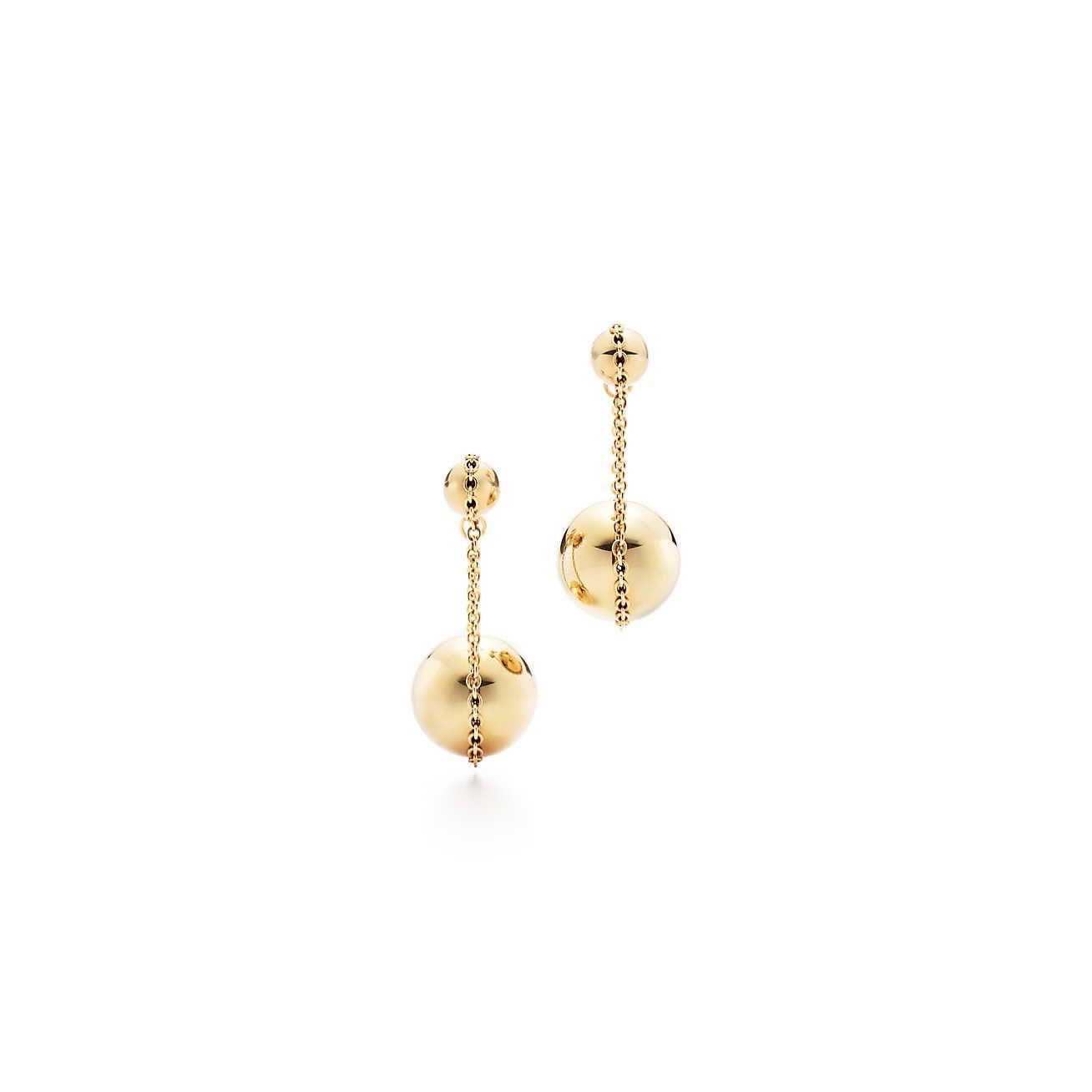 Tiffany Hardwear Double Drop Earrings 18k Gold Chain Chains Gemstone